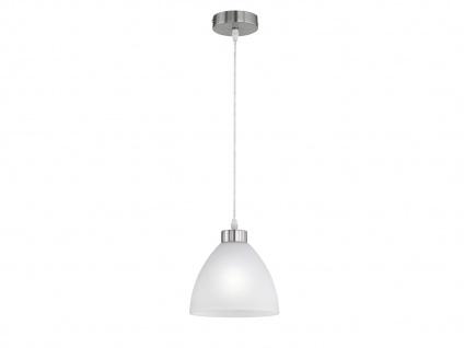 Designer Pendelleuchte DALLAS 1 flammig Glas Lampenschirm in Weiß Ø 20cm