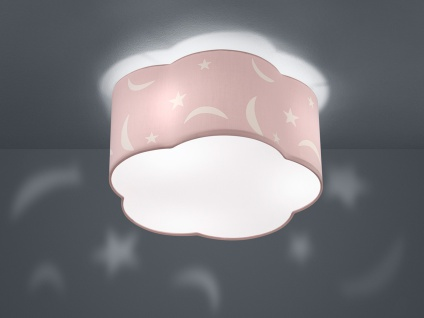 LED Deckenleuchte rund Ø40cm Stoffschirm in pastellrosa mit Motiv Mond + Sterne