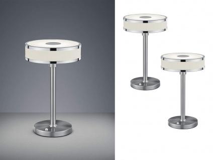 2 er SET LED Tischlampen mit Sensor Dimmer runder Stoffschirm mit Acryl in Weiß