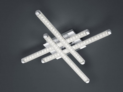 LED Deckenleuchte 4 flammig Kristall Chrom flache Küchendeckenlampe 7x50x50cm