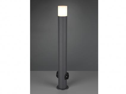 Außenwegeleuchten mit Steckdosen in Anthrazit Pollerleuchten Outdoor Stehlampen