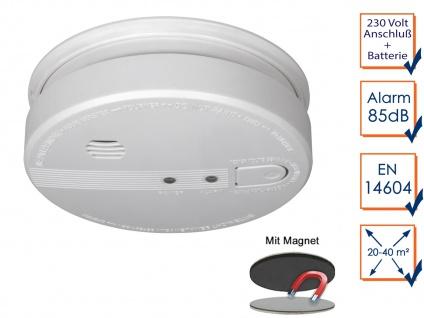Rauchmelder vernetzbar 230V + Backup-Batterie 85dB Feuermelder mit Magnethalter