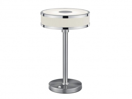 LED Tischleuchte dimmbar, Metall in Nickel matt Schirm aus Stoff & Acryl in weiß - Vorschau 2