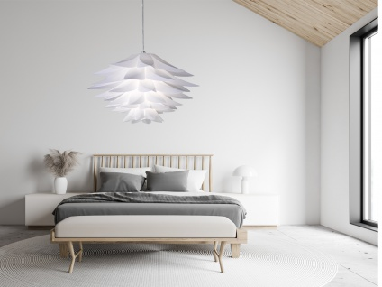 Florale LED Pendellampe dimmbar Ø50cm 1 flammig Lampenschirm Blätterdesign Weiß