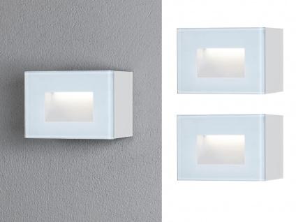 2er SET LED Außenwandleuchte aus ALU in weiß, Auf-& Einbauleuchte 12x8cm, IP54