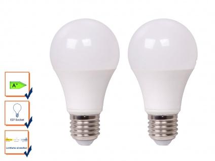 2er Set LED Leuchtmittel 9 Watt, 806 Lumen, E27-Sockel, 3 Weiß-Stufen wählbar