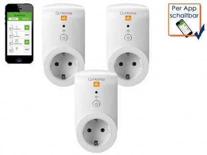 G-Homa 3er SET WiFi Schaltsteckdose Energiekostenmessfunktion per Smartphone-App