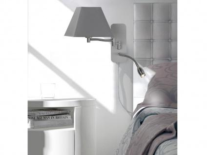 LED Wandleuchten Stoffschirm eckig weiß Leselampe & Stecker Wandlampen fürs Bett