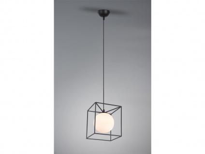 LED Pendelleuchte Industrie Design mit Metallcorpus schwarz und weißer Glaskugel