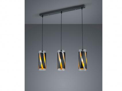 Moderne Pendelleuchte Zylinderform 3 flammig aus Glas schwarz für Esszimmerlampe
