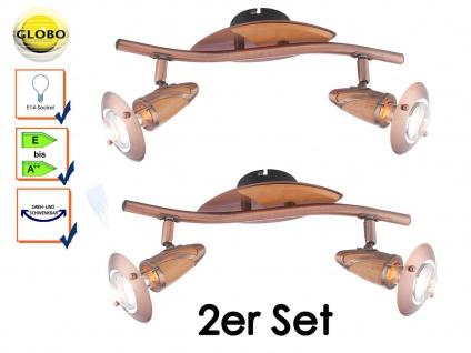 2er SET Globo Strahler Deckenstrahler LORD Kupfer Holz Deckenbeleuchtung