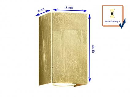Up & Down Wandlampe rechteckig in gold foliert 15 x 8 x 8cm, modernes Flurlicht - Vorschau 5