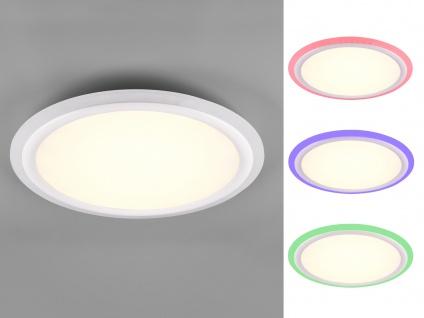 Flache große LED Deckenleuchte Weiß rund 50cm mit Fernbedienung - Nachtlicht