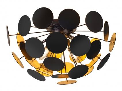 Edle LED Deckenleuchte Lampenschirm Schwarz matt / Gold Ø 54cm - Wohnzimmerlampe