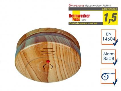 Rauchwarnmelder in hochwertiger Holzoptik, Brandmelder Feuermelder Feueralarm