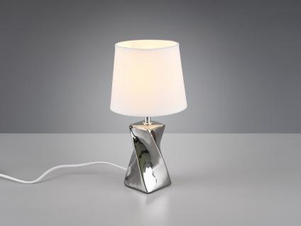 Kleine Keramik LED Tischleuchte in gold/weiß mit Stoffschirm Ø15cm Höhe 28, 5cm