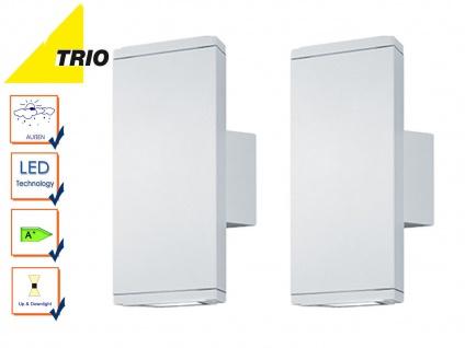2er Set Trio LED Außenleuchten Up & Down weiß matt, Außenbeleuchtung Hauswand