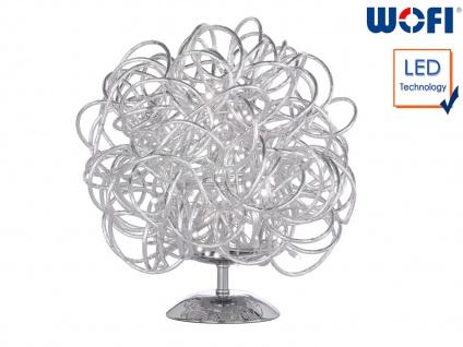 LED Tischleuchte Silber H. 27cm Kugelform Wohnraumleuchten Lampen Dekoleuchte