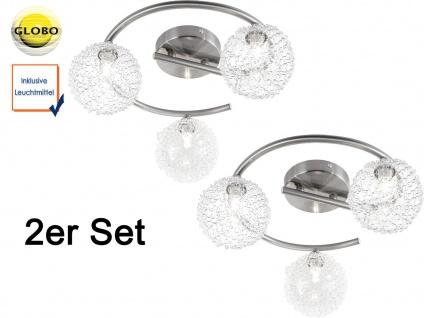2er Set Globo Design Deckenleuchte ENIGMA 3 flammig, Wohnraumlampe Kugel Rondell