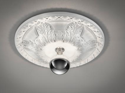 Bemalbare LED Stuckrosette Deckenlampe Gipsleuchte mit Ornament Design rund groß