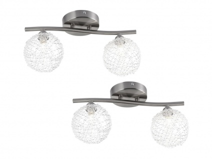 2er Set Globo Design Deckenlampen ENIGMA 2 flammig, Wohnraumleuchte Kugel modern