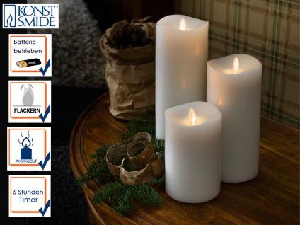 3er Set LED Duftkerze Echtwachs 6h Timer mit Lavendel Duftpad Stimmungslicht