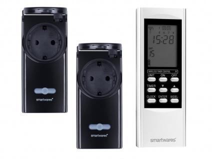 Digitales Outdoor Zeitschaltuhr Set = 2 x Funk-Steckdose + Timer-Fernbedienung