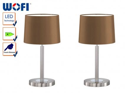 2 Stk Wofi LED Tischleuchte Nachttischlampe TOULOUSE, Dimmer, Schirm Stoff braun