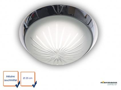 LED Wohnraumleuchte Schliffglas satiniert Zierring Chrom Ø25cm LED Kellerlampe