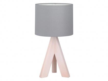 Design Holz Tischleuchte mit Stoff Lampenschirm Ø 17cm & Holzfuß fürs Wohnzimmer
