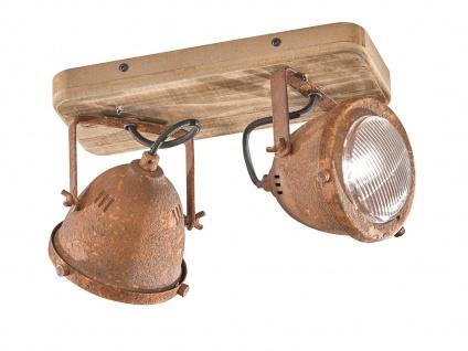 2 flammiger LED Deckenstrahler dimmbar mit Holzbrett rostfarben Industrial Style
