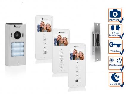 Set: 3 Familienhaus Videotürsprechanlage mit Türöffner und Kamera, Klingelanlage