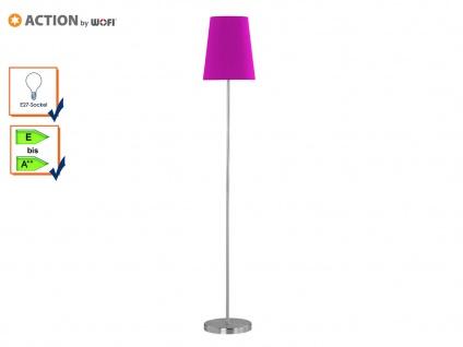 Wofi Stehleuchte FYNN, Stoffschirm lila, E27 Lampe Wohnzimmer, Design modern