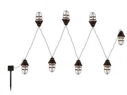 LED Lichterkette mit 8 Laternen - IP44 Solarbeleuchtung für draußen - Gartendeko