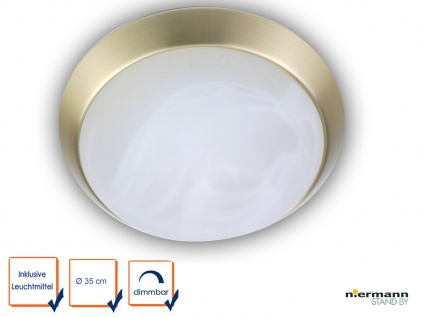 LED Decken Leuchte rund Ø35cm Alabaster Art Zierring Messing matt LED Bürolampe