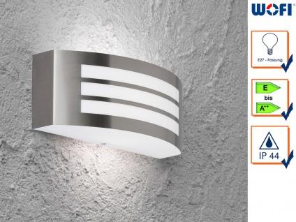 Wandleuchte / Außenleuchte Edelstahl Höhe 10cm E27, Fassadenbeleuchtung Haus