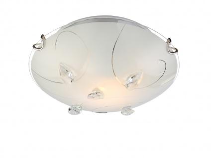 Runde flache LED Flurbeleuchtung - schöne Deckenlampe mit Kristallen Glasschirm