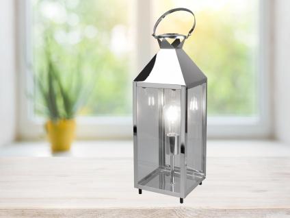 LED Tischleuchte groß Laterne Chrom Metall 19x19cm 61cm hoch für die Fensterbank - Vorschau 3