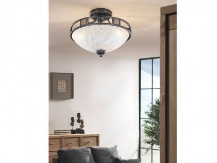 Rustikale runde LED Deckenlampe mit Glasschirm Ø 42cm - fürs WohnzimmerLampen