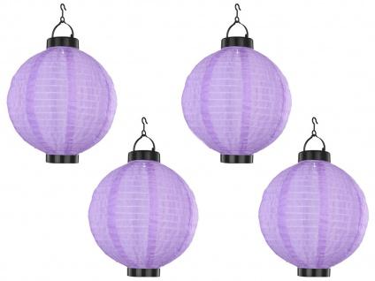 4er Set LED Solarleuchten Lampion violett Ø 25, 5cm, Beleuchtung Terrasse Garten - Vorschau 2