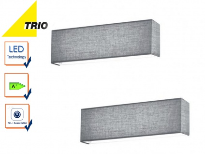 Trio LED Wandleuchten Set LUGANO grau mit Schalter, Flurlampe Uplight Downlight