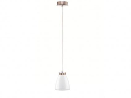 LED Pendelleuchte Glasschirm weiß glänzend, Hängelampe Pendel Esstisch Küche
