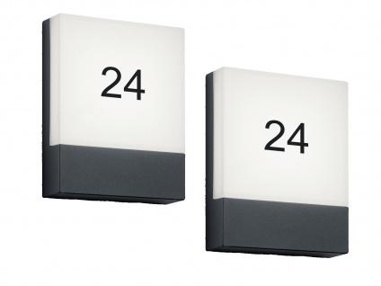 LED Wandlampen SET für draußen - 2 Hausnummernleuchten, Aluminium Anthrazit IP54 - Vorschau 2