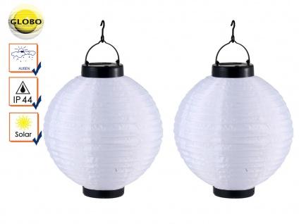 2er Set LED Solarleuchten Lampion weiß 25, 5cm, Beleuchtung Garten Terrasse