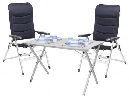 Set: Campingstühle und Tisch - stabiler Alu Rolltisch mit 2 Klappstühlen schwarz