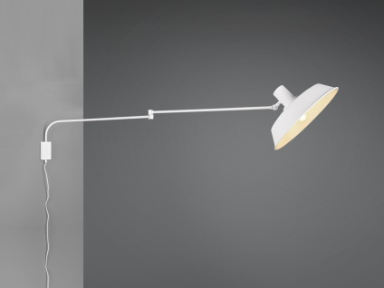 LED Schwenkarmleuchte Wohnzimmerlampe mit Wandbefestigung Kabel Schalter Stecker