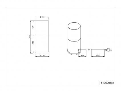Ausgefallene Tischleuchten Zylinderform, einflammige Rauchglas Tischlampe schmal - Vorschau 5
