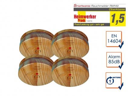 4er-SET Rauchwarnmelder in Holzoptik - Feuermelder Brandmelder Feuer Brand Alarm - Vorschau 1