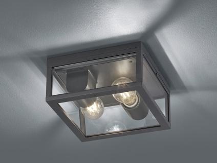 2-flammige eckige Außendeckenleuchte Anthrazit E27 - Außendeckenlampe für Balkon