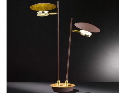 Design LED Nachttischleuchte 9 Watt Braun/Gold schwenkbar Höhe 51cm Dekolampen